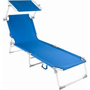 TecTake Chaise longue, Transat, Bain de soleil, Pare Soleil, Pliable Aluminium 190 cm Bleu
