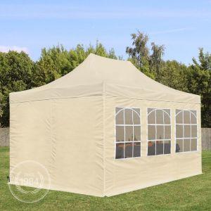 Intent24 Tente de Réception Beige 3 x 4,5 m avec 6 Fenêtres