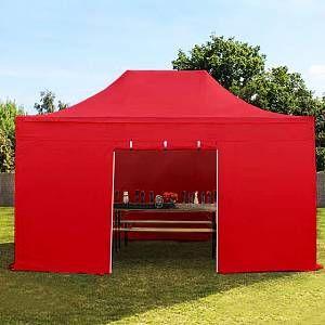Intent24 Tente pliante / pliable PREMIUM 3x4,5 m sans fenêtre en Polyester de qualité rouge.FR