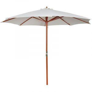 VidaXL Parasol sur pied toile blanche & bois 258 cm