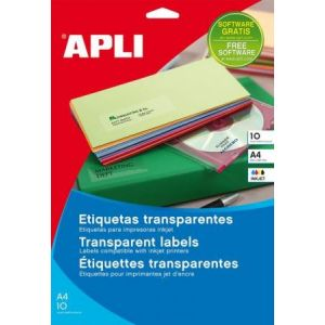 APLI 12964 - 40 étiquettes polyester transparentes, format 105 x 148 mm (10 feuilles / cdt)