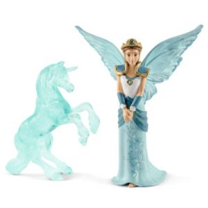 Schleich Bayala Figurine Film Eyela avec Sculpture Licorne de Glace, 70587, Multicolore