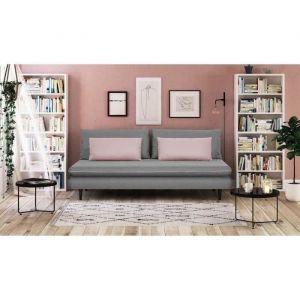 APOLINE Banquette méridienne 3 places Tissu Gris clair/Rose Style cl ique L 192 x P 101 cm