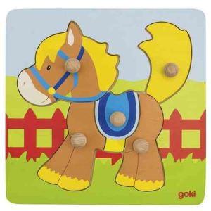 Goki 57555 - Puzzle à encastrements Cheval 5 pièces