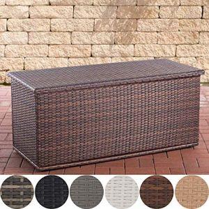 CLP Coffre De Rangement en Polyrotin Comfy Fibres Plates I Rangement pour Coussins De Jardin en Résine Tressée 125, Marron Marbré