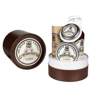 Mr Bear Family Citrus ! - Coffret cadeau avec huile de soin, shampooing et baume hydratant pour la barbe + cire moustache