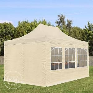 Intent24 Tente Pliante 3 x 4,5 m ECONOMY PE 300 g/m² beige + Bâches Côté + Housse / Barnum Chapiteau Pliant Tonnelle Stand Paddock Réception.FR