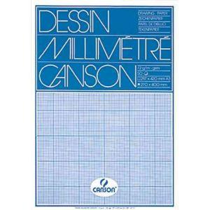 Canson Bloc de 50 feuilles de papier millimétré A3 90 g/m2