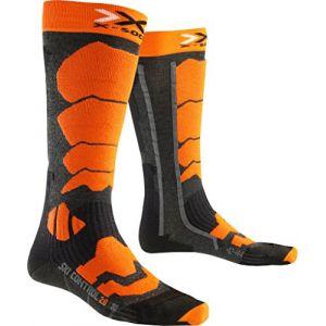 X-Socks Chaussettes de Ski pour Homme Control 2.0, Homme, Ski Control 2.0, Anthracite/Orange, 45/47