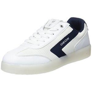 Geox J Kommodor B, Sneakers Basses Garçon, Blanc (White/Navy), 35 EU