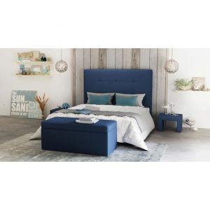 OTTI Ensemble Tête de lit 145 x 120 + Coffre de rangement + 2 C vets Bleu