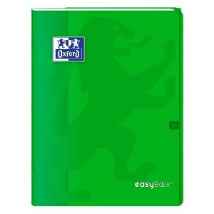 Oxford 400100061 EasyBook Cahier agrafé 24 x 32 cm 96 pages 90 g grands carreaux seyès Vert