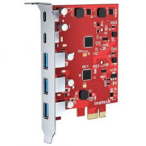 Inateck RedComets U25 Carte d'Extension PCIe USB 3.2 Gen 2 avec 3 Ports USB-A et 2 Ports USB-C Carte PCIe 5 Ports 8 Gbps Pas Besoin d'Alimentation Extérieure, Rouge