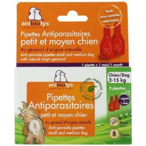 Anibiolys Pipettes antiparasites chien au géraniol naturel (2 pipettes)