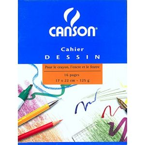Canson 200027108 - Cahier Dessin 16 pages 17x22 120g/m², couv. carte
