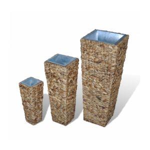 VidaXL 40693 - 3 cache-pots de fleur carrés en rotin jacinthe d'eau