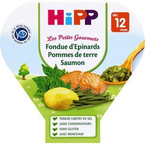 HiPP Biologique Les Petits Gourmets : Fondue d'épinards pommes de terre saumon 230g - dès 12 mois