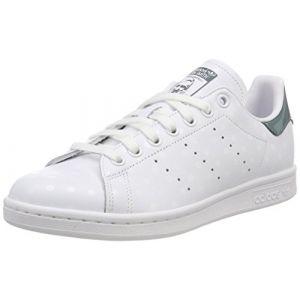Adidas Stan Smith W, Chaussures de Tennis Femme, Blanc (FTWR White/FTWR White/Raw Green B41624), 40 EU
