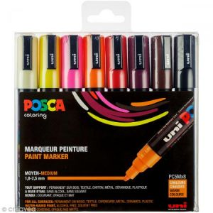 Posca PC5M/8 ASS15 - Etui de 8 marqueurs peinture 5M, pointe conique 1,8 à 2,5 mm, coloris chauds