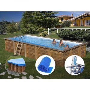Sunbay Kit piscine bois Braga 8,00 x 4,00 x 1,46 m + Bâche hiver + Bâche à bulles + Kit d'entretien