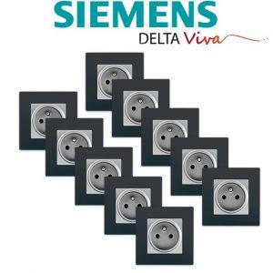 Siemens LOT 10 Prise 2P+T Silver Delta Viva + Plaque Anthracite