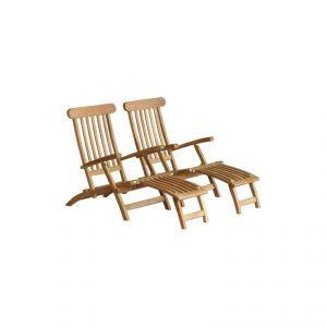 Hilo - 2 chaise longues en teck