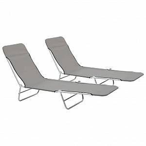VidaXL Chaise longue pliable 2 pcs Gris