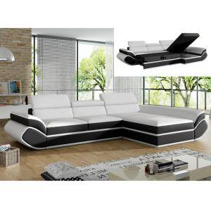 Canapé d'angle convertible en simili ORLEANS Blanc et bandes noires Angle droit