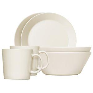 iittala Set de 6 plats pour le petit déjeuner Teema - blanc/2 tasses 0,3l / 2 bols Ø 15cm //2 assiettes plates Ø 21cm