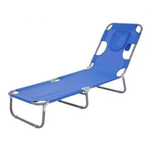 Décoshop26 Transat chaise longue de jardin pliable en tissu bleu