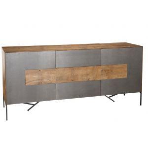 LesTendances Buffet 2 portes 3 tiroirs - Teck recyclé - Façade et pieds en métal - L 167 x P 45 x H 78 cm