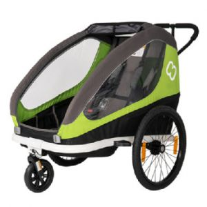 Hamax Traveller Remorque Vélo bras de bicyclette et roue de poussette inclus, green/grey Remorques pour enfant