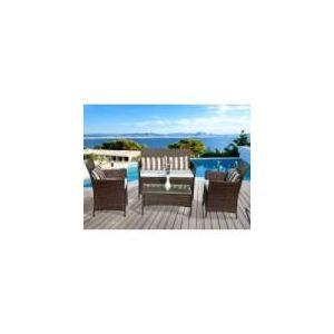 Salon jardin tressee resine marron buffalo - Comparer 65 offres