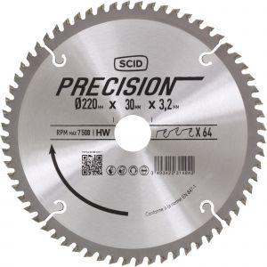 SCID Lame pour machines stationnaires - Epaisseur 3,2 mm - 64 dents - Diamètre 220 mm - Alésage 30 mm