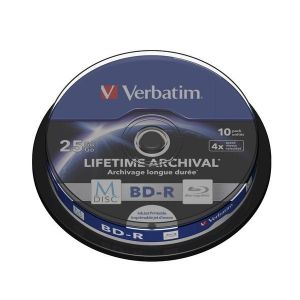 Verbatim 1x10 M-Disc BD-R BluRay 25GB 6x Speed Cakebox printable