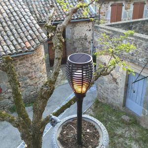 Lumisky Flamy Lampe Torche LED Imitation Flamme pour Jardin Plastique/ABS 4 W Noir 11 x 11 x 78 cm
