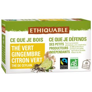 Ethiquable Thé vert gingembre bio - Boîte de 20 sachets