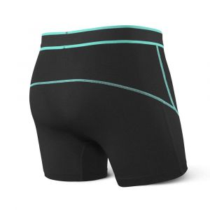 Saxx Underwear Saxx Kinetic Boxer Briefs - Black/Tide Medium