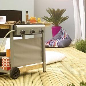 Naterial Safran - Barbecue à gaz en bois plaque en acier 3 brûleurs sur chariot 2 roues