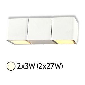 Vision-El Applique murale double LED 2x3W (2x27W) IP54 Blanc jour 4000°K Cube Blanc