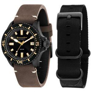 Spinnaker Coffret SP-5039-05 - Spence Bracelet Cuir Marron Boitier Acier Noir + Bracelet Nato Homme
