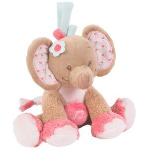 Nattou Peluche mini musical Éléphant rose