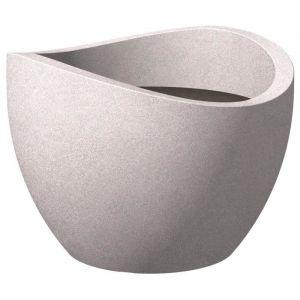 Scheurich Pot en plastique rotomoulé Wave Globe 250 - 50 x 37,1 cm - Taupe granite