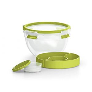 Emsa Boîte à Salade avec 2 Compartiments Pratiques et Couvercle, Boîte à Salade, Volume : 1 Litre, Transparent/Vert, Clip & Go, 518097