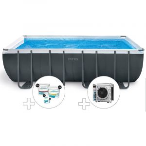 Intex Kit piscine tubulaire Ultra XTR Frame rectangulaire 5,49 x 2,74 x 1,32 m + Kit de traitement au chlore + Pompe à chaleur