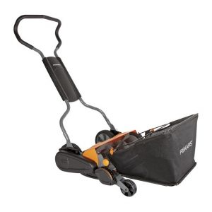 Fiskars StaySharp Max - Tondeuse manuelle + bac de ramassage