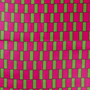 Craftine Tissu Wax Africain N°355 Rectangles Roses sur fond Vert