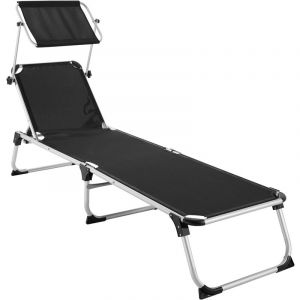 TecTake Transat AURELIE - chaise longue de jardin, bain de soleil, transat de plage - noir