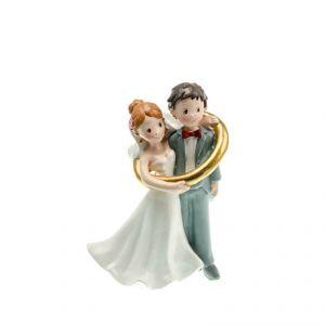 Chaks 80161 - Figurine en résine Couple de mariés dans anneau (15 cm)