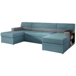 Comforium Canapé d'angle convertible 4 places en tissu bleu et cuir synthétique gris avec 2 coffres de rangement et méridienne côt